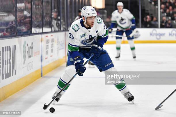 Brandon Sutter of the Vancouver Canucks skates against the Columbus Blue Jackets on March 1, 2020 at Nationwide Arena in Columbus, Ohio.