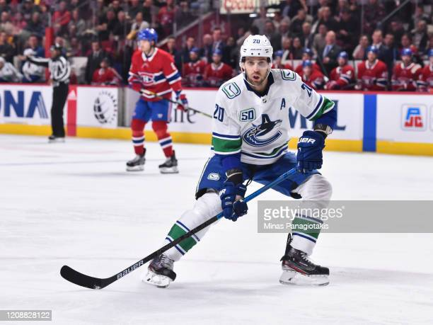 Brandon Sutter of the Vancouver Canucks skates against the Montreal Canadiens during the second period at the Bell Centre on February 25, 2020 in...