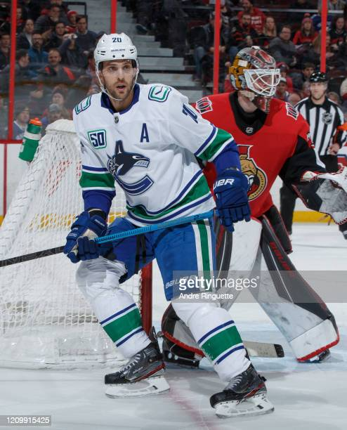 Brandon Sutter of the Vancouver Canucks skates against the Ottawa Senators at Canadian Tire Centre on February 27, 2020 in Ottawa, Ontario, Canada.