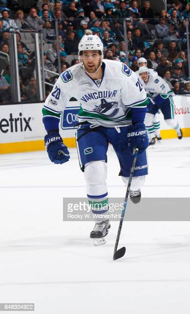 Brandon Sutter of the Vancouver Canucks skates against the San Jose Sharks at SAP Center on March 2 2017 in San Jose California