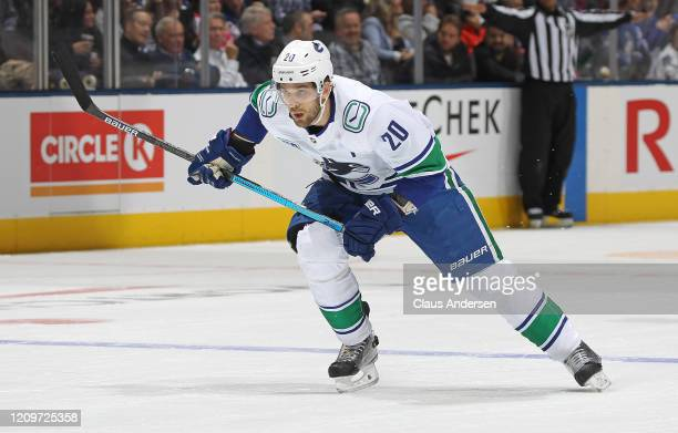 Brandon Sutter of the Vancouver Canucks skates against the Toronto Maple Leafs during an NHL game at Scotiabank Arena on February 29, 2020 in...