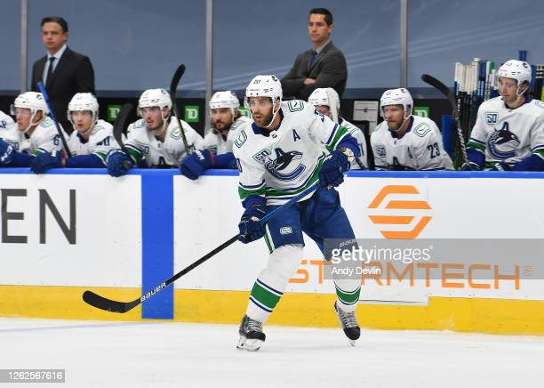 Brandon Sutter of the Vancouver Canucks skates during the first period of an exhibition game against the Winnipeg Jets prior to the 2020 NHL Stanley...