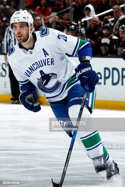 Brandon Sutter of the Vancouver Canucks skates during the game against the Anaheim Ducks on March 14 2018 at Honda Center in Anaheim California