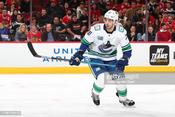 Brandon Sutter of the Vancouver Canucks skates in the first period against the Chicago Blackhawks at the United Center on November 7, 2019 in...
