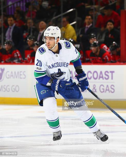 Brandon Sutter of the Vancouver Canucks skates in the secondperiod during the game against the New Jersey Devils at Prudential Center on November 24...