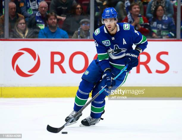 Brandon Sutter of the Vancouver Canucks skates up ice during their NHL game against the Los Angeles Kings at Rogers Arena October 9, 2019 in...