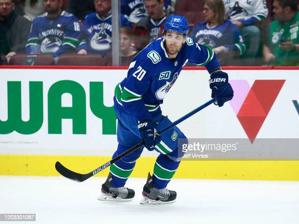 Brandon Sutter of the Vancouver Canucks skates up ice during their NHL game against the St. Louis Blues at Rogers Arena January 27, 2020 in...