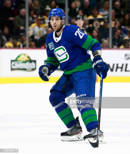 Brandon Sutter of the Vancouver Canucks skates up ice during their NHL game against the Boston Bruins at Rogers Arena February 22, 2020 in Vancouver,...