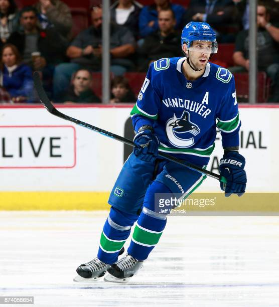 Brandon Sutter of the Vancouver Canucks skates up ice during their NHL game against the Dallas Stars at Rogers Arena October 30 2017 in Vancouver...