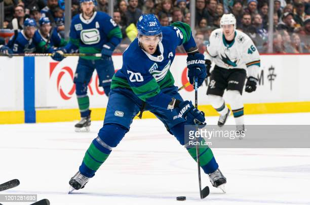 Brandon Sutter of the Vancouver Canucks skates with the puck during NHL action against the San Jose Sharks at Rogers Arena on January 18, 2020 in...