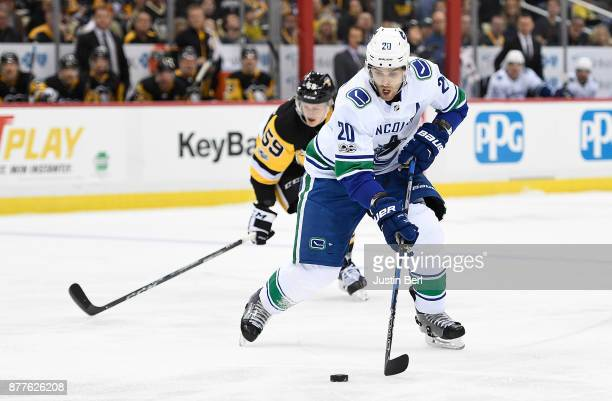 Brandon Sutter of the Vancouver Canucks skates with the puck in the third period during the game against the Pittsburgh Penguins at PPG PAINTS Arena...