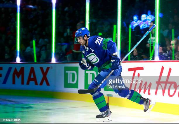 Brandon Sutter of the Vancouver Canucks steps onto the ice during their NHL game against the Calgary Flames at Rogers Arena February 8, 2020 in...