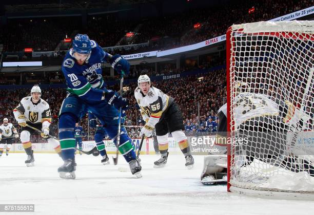 Brandon Sutter of the Vancouver Canucks takes a shot against Maxime Lagace of the Vegas Golden Knights during their NHL game at Rogers Arena November...