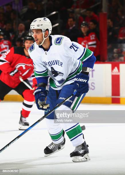 Brandon Sutter'nof the Vancouver Canucks skates during the game against the New Jersey Devils at Prudential Center on November 24 2017 in Newark New...