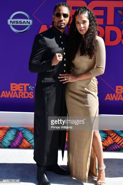 Brandon T Jackson and Denise Xavier arrive to the 2018 BET Awards held at Microsoft Theater on June 24 2018 in Los Angeles California