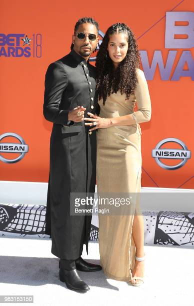 Brandon T Jackson and Denise Xavier attend the 2018 BET Awards at Microsoft Theater on June 24 2018 in Los Angeles California