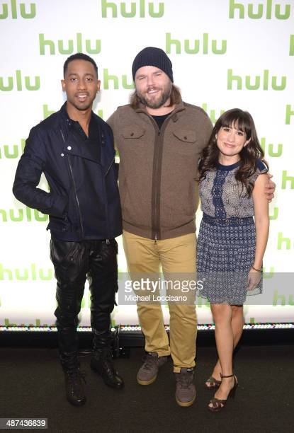 Brandon T Jackson Tyler Labine and Lucy DeVito attend Hulu's Upfront Presentation on April 30 2014 in New York City