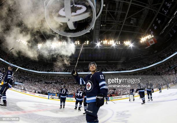 Brandon Tanev of the Winnipeg Jets salutes the fans following a 74 victory over the Nashville Predators in Game Three of the Western Conference...