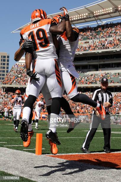 Brandon Tate of the Cincinnati Bengals celebrates his 44yard touchdown reception against the Cleveland Browns in the second half at Paul Brown...