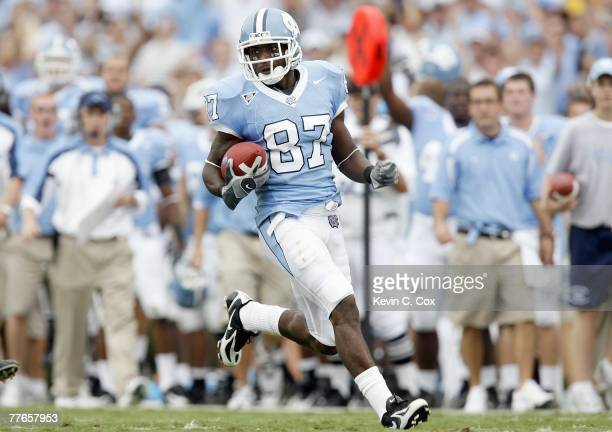 Brandon Tate of the North Carolina Tar Heels carries the ball during game against the Miami Hurricanes at Kenan Stadium on October 6, 2007 in Chapel...