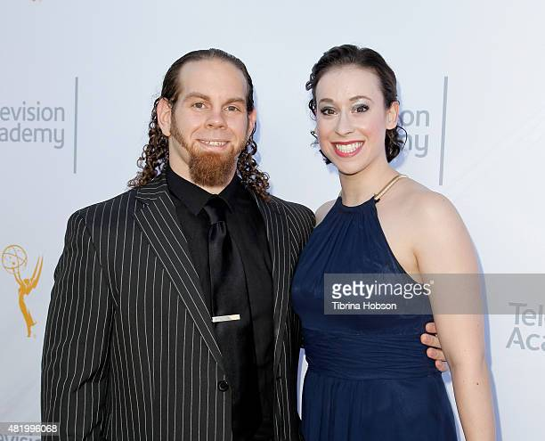 Brandon Taylor and Emily Heller attend the 67th Los Angeles area Emmy Awards at Skirball Cultural Center on July 25 2015 in Los Angeles California