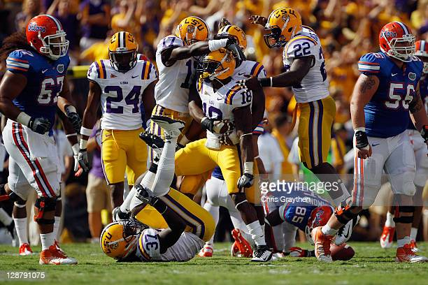 Brandon Taylor of the Louisiana State University Tigers celebrates after an interception during the game against the Florida Gators at Tiger Stadium...