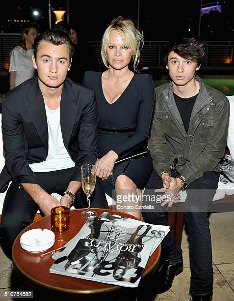 Brandon Thomas Lee actress Pamela Anderson and Dylan Jagger Lee attend The Daily Front Row Fashion Los Angeles Awards 2016 at Sunset Tower Hotel on...
