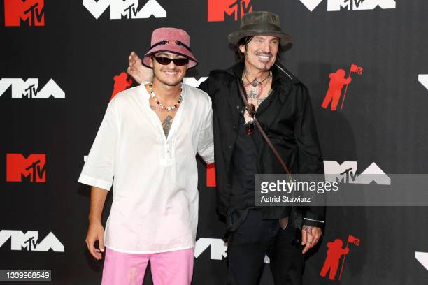 Brandon Thomas Lee and Tommy Lee attend the 2021 MTV Video Music Awards at Barclays Center on September 12, 2021 in the Brooklyn borough of New York...