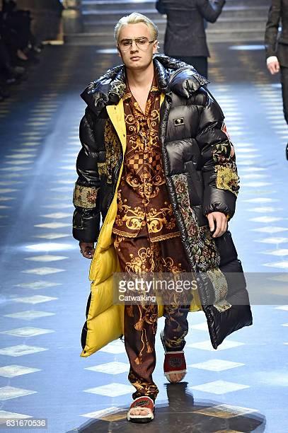 Brandon Thomas Lee walks the runway at the Dolce Gabbana Autumn Winter 2017 fashion show during Milan Menswear Fashion Week on January 14 2017 in...