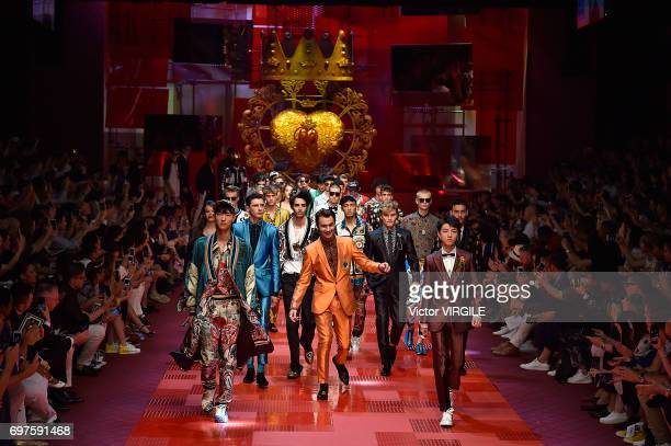 Brandon Thomas Lee walks the runway at the Dolce Gabbana show during Milan Men's Fashion Week Spring/Summer 2018 on June 17 2017 in Milan Italy