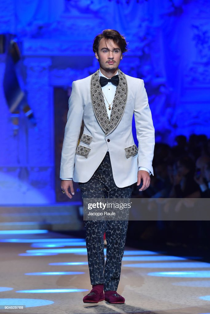 Brandon Thomas Lee walks the runway at the Dolce & Gabbana show during Milan Men's Fashion Week Fall/Winter 2018/19 on January 13, 2018 in Milan, Italy.