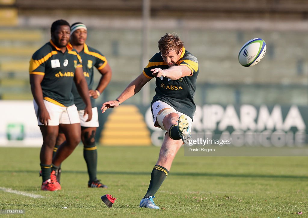Brandon Thomson of South Africa kicks a penalty during the World Rugby U20 Championship 3rd Place Play-Off match between France and South Africa at Stadio Giovanni Zini on June 20, 2015 in Cremona, Italy.