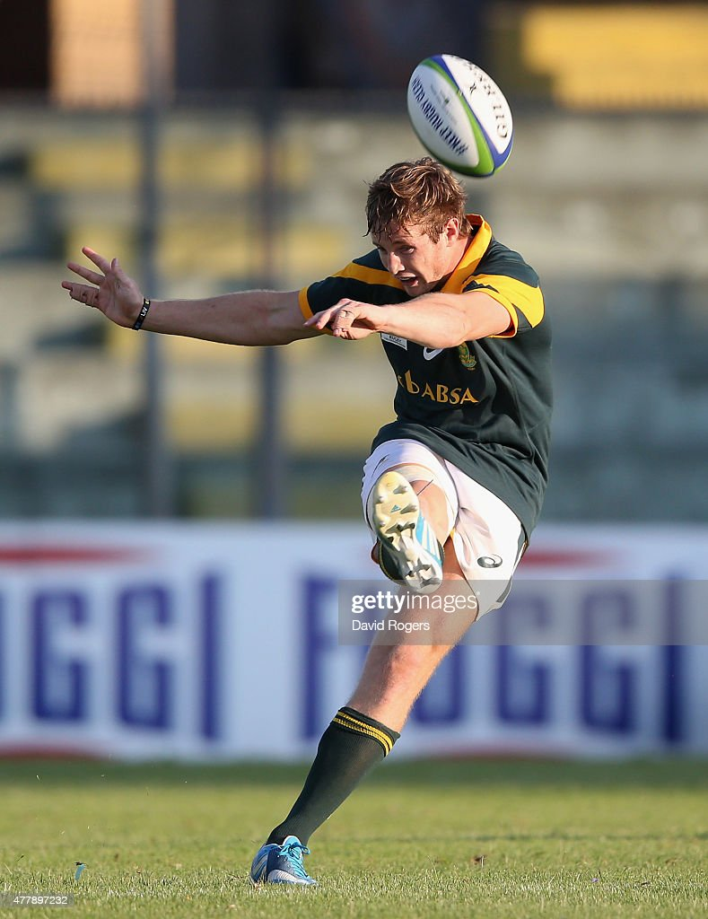Brandon Thomson of South Africa takes a drop goal during the World Rugby U20 Championship 3rd Place Play-Off match between France and South Africa at Stadio Giovanni Zini on June 20, 2015 in Cremona, Italy.
