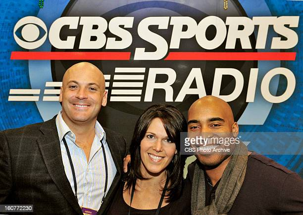 Brandon Tierney Dana Jacobson and Tiki Barber of the CBS SPORTS RADIO NETWORK broadcasting from Radio Row in New Orleans site of Super Bowl XLVII