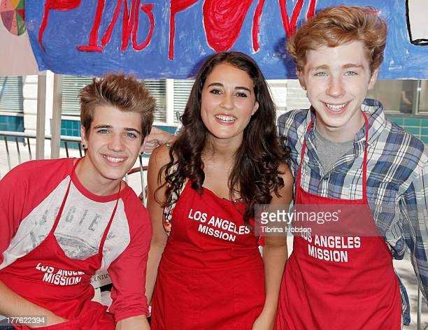 Brandon Tyler Russell Lauren Franco and Joey Luthman attend the Los Angeles Mission summer street fair for skid row kids at Los Angeles Mission on...
