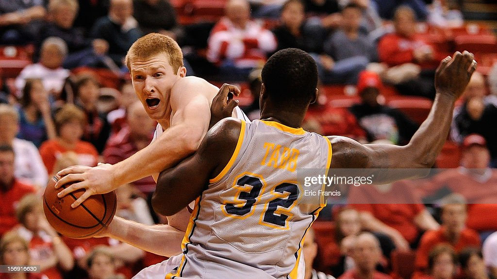 Brandon Ubel #13 of the Nebraska Cornhuskers tries to move toward the basket around Melvin Tabb #32 of the Kent State Golden Flashes during their game at The Devaney Center on November 24, 2012 in Lincoln, Nebraska. Kent State Beat Nebraska 74-60.
