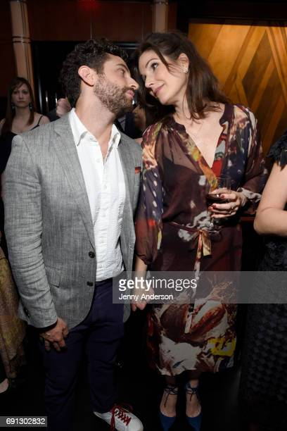 Brandon Uranowitz and Stephanie J Block attend Designed To Celebrate A Toast To The 2017 Tony Awards Creative Arts Nominees at The Lamb's Club at the...