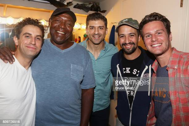 Brandon Uranowitz Chuck Cooper Tony Yazbeck Lin Manuel Miranda and Jonathan Groff pose backstage at the hit new musical 'Prince of Broadway' on...
