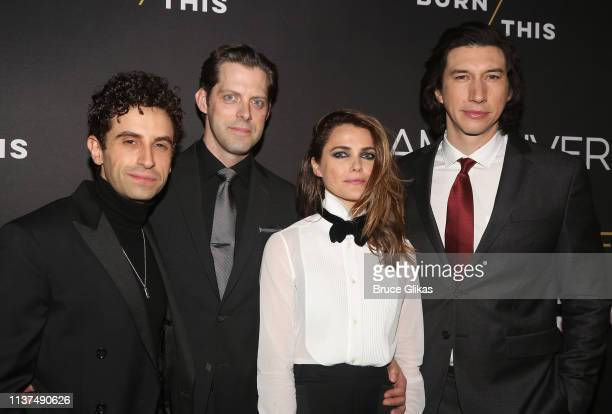 Brandon Uranowitz Keri Russell David Furr and Adam Driver pose at the opening night of the play Burn This on Broadway at The Hudson Theatre on April...