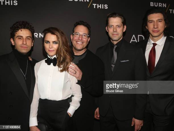 Brandon Uranowitz Keri Russell Director Michael Mayer David Furr and Adam Driver pose at the opening night of the play Burn This on Broadway at The...
