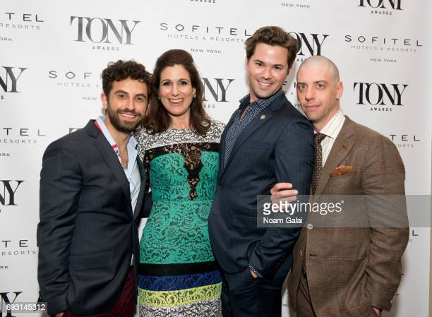 Brandon Uranowitz Stephanie J Block Andrew Rannells and Christian Borle attend the 2017 Tony Honors cocktail party at Sofitel Hotel on June 5 2017 in...