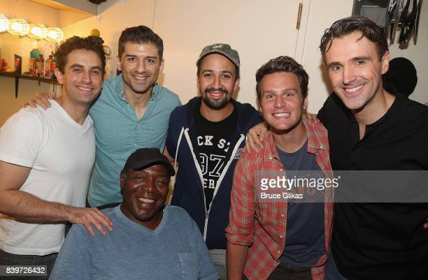 Brandon Uranowitz Tony Yazbeck Chuck Cooper Lin Manuel Miranda Jonathan Groff and Michael Xavier pose backstage at the hit new musical 'Prince of...