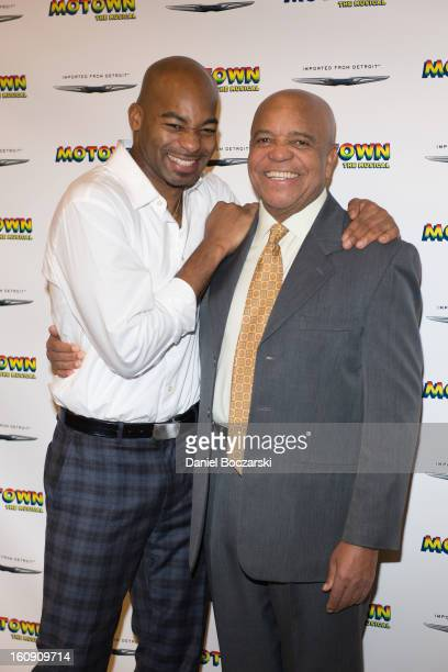 "Brandon Victor Dixon and Berry Gordy attend ""Motown: The Musical"" Press Preview at The New 42nd Street Studios on February 7, 2013 in New York City."