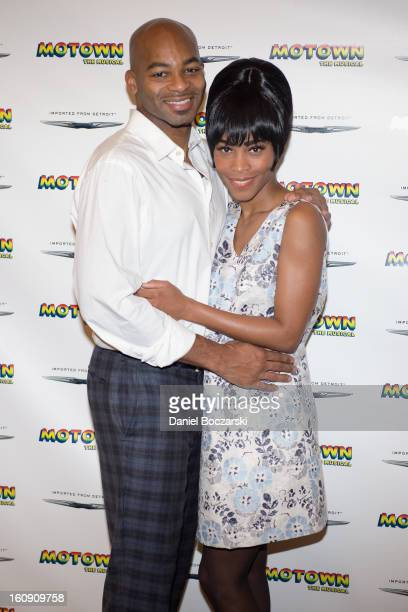 Brandon Victor Dixon and Valisia LeKae attend Motown The Musical Press Preview at The New 42nd Street Studios on February 7 2013 in New York City