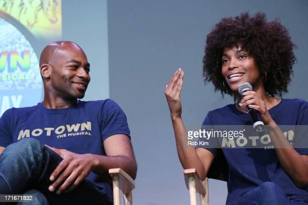 Brandon Victor Dixon and Valisia LeKae of Motown The Musical visit Apple Store Soho on June 27 2013 in New York City