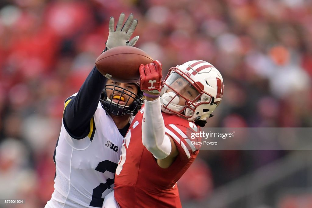 Brandon Watson #28 of the Michigan Wolverines defends a pass intended for Danny Davis III #6 of the Wisconsin Badgers during the third quarter of a game at Camp Randall Stadium on November 18, 2017 in Madison, Wisconsin.