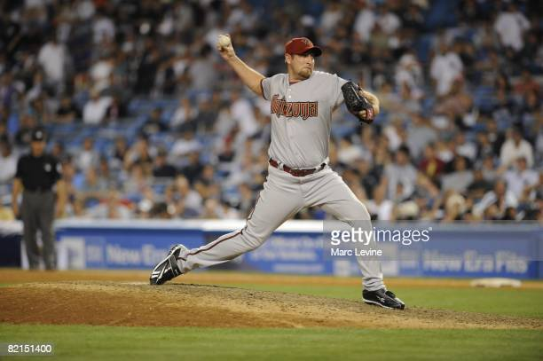 Brandon Webb of the Arizona Diamondbacks pitches during the 79th MLB AllStar Game at the Yankee Stadium in the Bronx New York on July 15 2008 The...