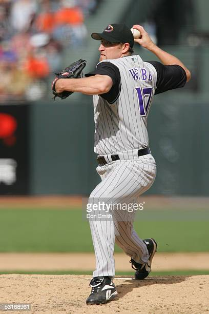 Brandon Webb of the Arizona Diamondbacks pitches during the game against the San Francisco Giants at SBC Park on June 23 2005 in San Francisco...