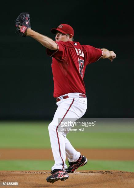Brandon Webb of the Arizona Diamondbacks pitches during the game against the Pittsburgh Pirates at Chase Field on August 5 2008 in Phoenix Arizona