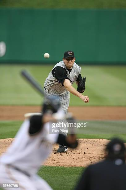 Brandon Webb of the Arizona Diamondbacks pitching during the game against the Pittsburgh Pirates at PNC Park in Pittsburgh, Pennsylvania on May 10,...